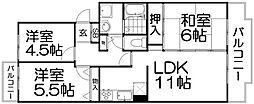 コーポラスK&T[4階]の間取り