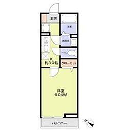 JR京葉線 稲毛海岸駅 徒歩10分の賃貸アパート 1階1Kの間取り