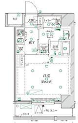 クレイシア江戸川橋レーヴ 6階1Kの間取り