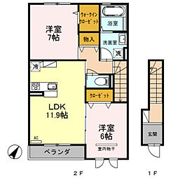 埼玉県さいたま市緑区大字中尾の賃貸アパートの間取り