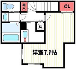 ベリエ昭島 2階1Kの間取り