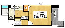 JR福知山線 川西池田駅 徒歩9分の賃貸マンション 3階1Kの間取り