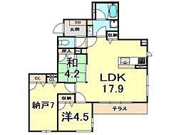 阪急神戸本線 夙川駅 徒歩3分の賃貸マンション 1階2SLDKの間取り
