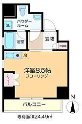 仮称)亀戸6丁目新築マンション 4階ワンルームの間取り