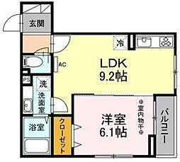 JR中央線 豊田駅 徒歩24分の賃貸アパート 2階1LDKの間取り