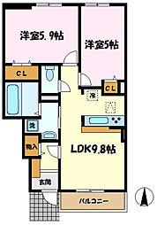 小田急小田原線 新百合ヶ丘駅 バス14分 東長沢下車 徒歩1分の賃貸アパート 1階2LDKの間取り