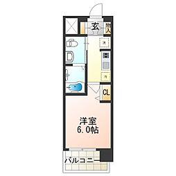 Osaka Metro御堂筋線 昭和町駅 徒歩9分の賃貸マンション 5階1Kの間取り