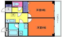兵庫県神戸市中央区熊内町2丁目の賃貸マンションの間取り