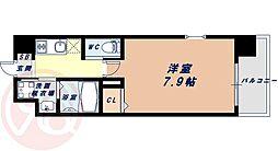 Osaka Metro千日前線 桜川駅 徒歩9分の賃貸マンション 3階1Kの間取り