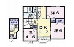 コンフォート東塚 E[202号室]の間取り