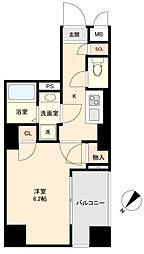 JR山手線 目黒駅 徒歩10分の賃貸マンション 4階1Kの間取り