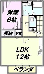 埼玉県入間市扇町屋1丁目の賃貸アパートの間取り