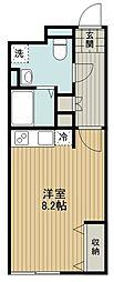 東京メトロ副都心線 地下鉄成増駅 徒歩2分の賃貸マンション 2階ワンルームの間取り