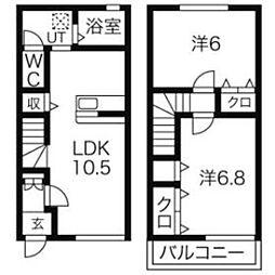 埼玉県八潮市大字大曽根の賃貸アパートの間取り