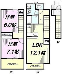 埼玉県入間市大字野田の賃貸アパートの間取り