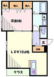東急東横線 新丸子駅 徒歩5分の賃貸マンション 1階1LDKの間取り