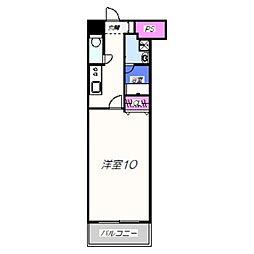 TKアンバーコート六条通 8階1Kの間取り