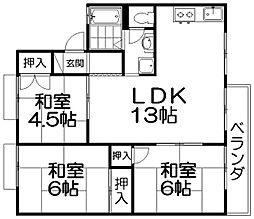 セジュール男山[1階]の間取り