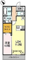 西武新宿線 狭山市駅 徒歩5分の賃貸アパート 2階1LDKの間取り