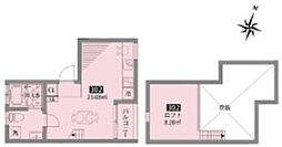小田急小田原線 豪徳寺駅 徒歩6分の賃貸アパート 2階ワンルームの間取り