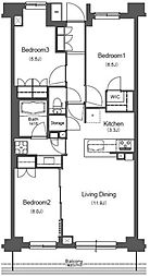 都営大江戸線 西新宿五丁目駅 徒歩8分の賃貸マンション 4階3LDKの間取り