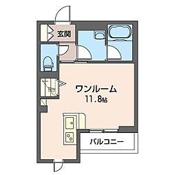 仮)幸区柳町シャーメゾン 2階ワンルームの間取り