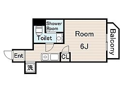 プランドール野江 3階ワンルームの間取り