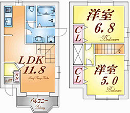 兵庫県神戸市垂水区美山台2丁目の賃貸アパートの間取り
