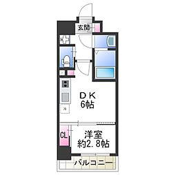 ファーストフィオーレ天王寺 8階1DKの間取り