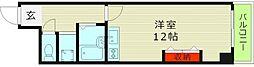 ファミリーコーポ今福 6階ワンルームの間取り