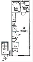 JR京浜東北・根岸線 大井町駅 徒歩10分の賃貸テラスハウス 2階ワンルームの間取り