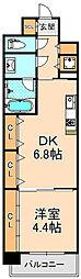 阪神本線 西宮駅 徒歩9分の賃貸マンション 5階1DKの間取り