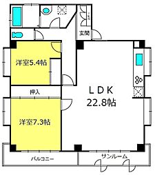 埼玉県さいたま市中央区下落合6丁目の賃貸マンションの間取り