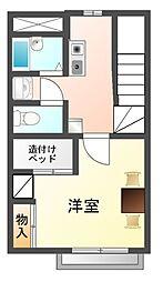 愛知県豊川市川花町3丁目の賃貸アパートの間取り