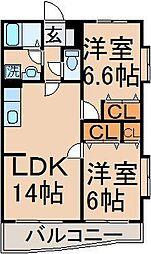 東京都東大和市中央2丁目の賃貸マンションの間取り