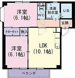 愛知県知立市牛田町の賃貸アパートの間取り