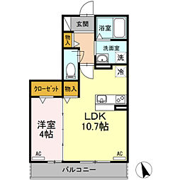 愛知県岡崎市下青野町字本郷の賃貸アパートの間取り