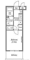 都営浅草線 泉岳寺駅 徒歩6分の賃貸マンション 3階1Kの間取り