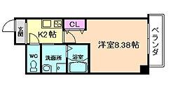 Osaka Metro堺筋線 天神橋筋六丁目駅 徒歩4分の賃貸マンション 4階1Kの間取り