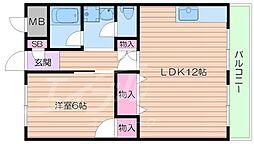 大阪府箕面市船場西1丁目の賃貸マンションの間取り