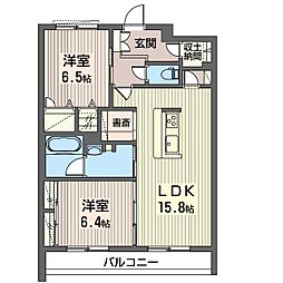 エミナール那珂川 2階2LDKの間取り