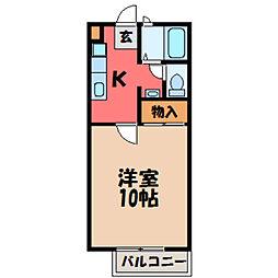 栃木県宇都宮市元今泉2丁目の賃貸アパートの間取り