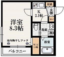 東京メトロ丸ノ内線 四谷三丁目駅 徒歩5分の賃貸マンション 4階1Kの間取り