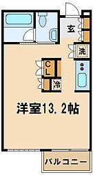 東急田園都市線 たまプラーザ駅 徒歩6分の賃貸マンション 2階ワンルームの間取り