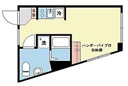 Luna Crescente Gakugeidaigaku 1階ワンルームの間取り