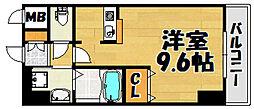 阪急宝塚本線 川西能勢口駅 徒歩7分の賃貸マンション 1階ワンルームの間取り