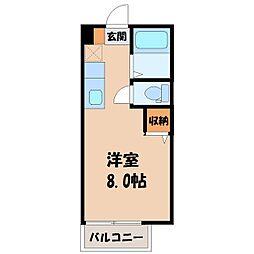 栃木県宇都宮市大寛1丁目の賃貸アパートの間取り