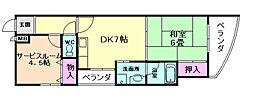 大阪府豊中市柴原町3丁目の賃貸マンションの間取り