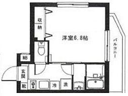モン・シャトー中野新橋 4階1Kの間取り
