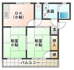 愛知県豊橋市佐藤1丁目の賃貸アパートの間取り